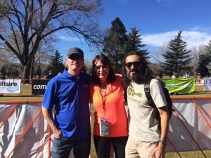 Brent & Lorraine Moller, bronze medalist, & Pablo Vigil, Mountain Running Champion
