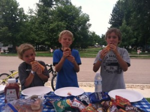 Local Louisville kids enjoying some hotdogs!