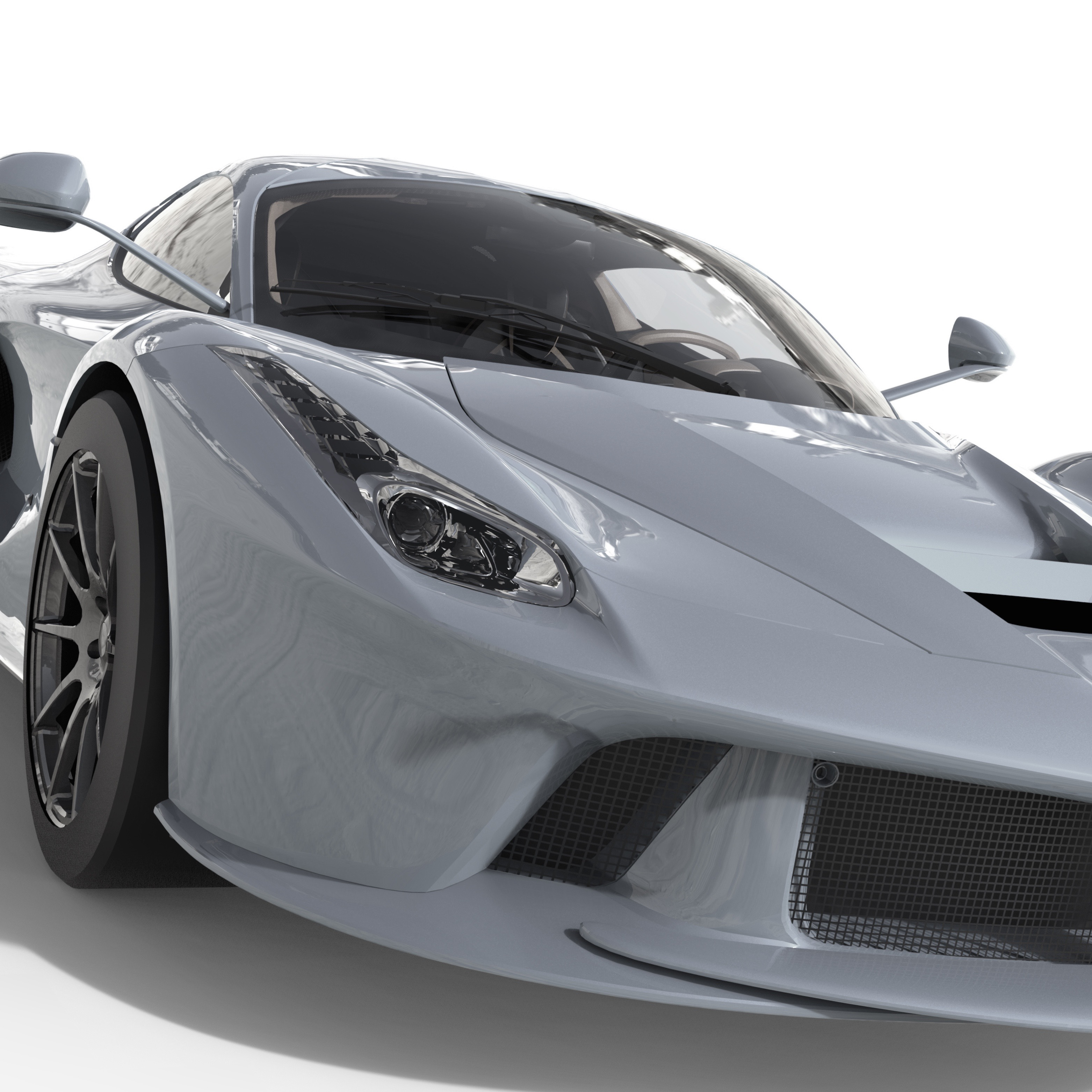 Sports Car Front View. The Image Of A Sports Blue Car On A White Background.  3d Illustration.